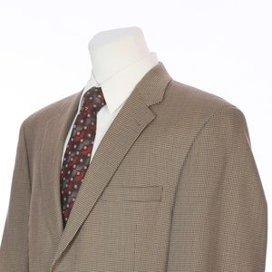 Jos A Bank Brown Beige Houndstooth Wool Sport Coat